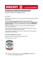 Einladung zur Generalversammlung 2018