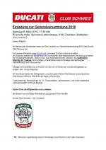 Einladung zur Generalversammlung 2019